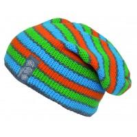 Трикотажная шапка унисекс 272/2 синий/зелёный/оранжевый