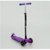 Самокат алюм./пласт.детский регул. руль, со свет. колес.120 и 80мм ABEC-7 до 60кг фиолет