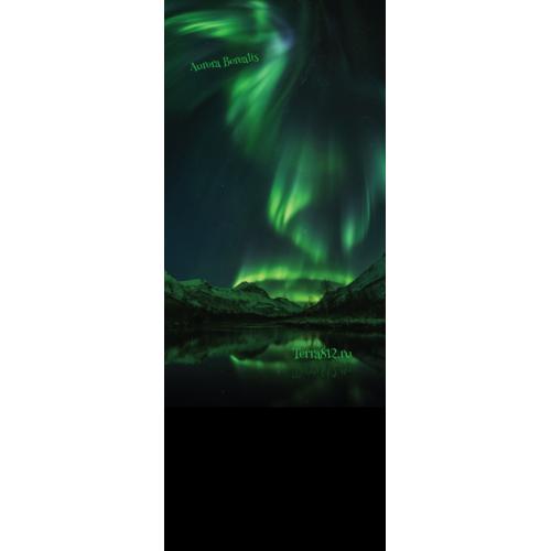 Бандана-труба с флисом Терра Северное сияние / Aurora Borealis зелёная